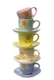 A stack of cups and saucers Royalty Free Stock Photo