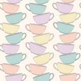 Stack Of Cups. Vectical composition. Seamless pattern. Stock Image