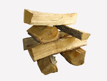 Stack of cut logs fire wood isolated over white Stock Image