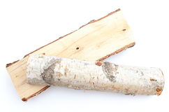 Stack of cut logs firewood from silver birch tree Stock Photo