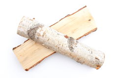 Stack of cut logs firewood from silver birch tree Stock Photos