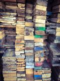 Stack of wood with colorful ends background texture royalty free stock images