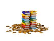 Stack of 3D Books and Autumn Leaves Royalty Free Stock Image
