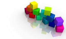 Stack of 3D Colored Cubes Royalty Free Stock Image