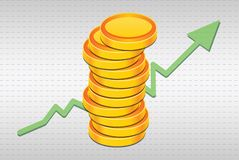 Stack of 3D illustrated Golden Coins with Graph going up Royalty Free Stock Photo