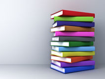 Stack of 3d render colorful books. Over white wall background with shadow Stock Photo