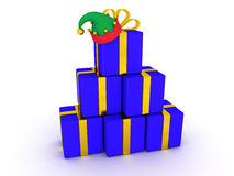 Stack of 3D Wrapped Gifts and Elf Hat Royalty Free Stock Photos
