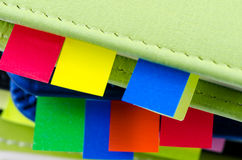 Stack of dairy with sticky notes Royalty Free Stock Photos