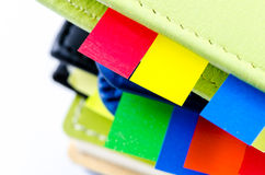 Stack of dairy with sticky notes Royalty Free Stock Photo