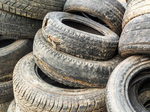 Stack Of Damaged Tires Royalty Free Stock Image