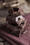Stack of dark chocolate Stock Photography