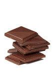 Stack of dark chocolate isolated Royalty Free Stock Photos