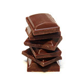Stack Of Dark Chocolate Pieces Stock Photography
