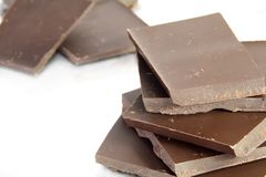Stack of Dark Chocolate Pieces Royalty Free Stock Image