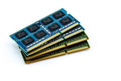 Stack of DDR RAM sticks on isolated background Stock Photo