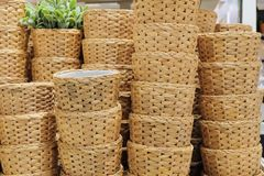 Stack of Water Hyacinth Wicker Weave Containers Stock Images