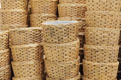 Stack of Water Hyacinth Wicker Weave Containers Stock Photos
