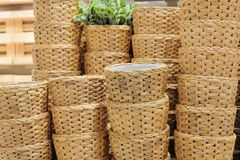 Stack of Water Hyacinth Wicker Weave Containers Stock Photo