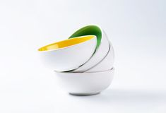 Stack of deep bowls Royalty Free Stock Images