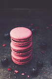 Stack of delicious blueberry macaroon on dark background Stock Images