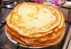 Stack of delicious fried pancakes on a plate Royalty Free Stock Images