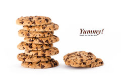 Stack of delicious homemade choc chip cookies Stock Photo