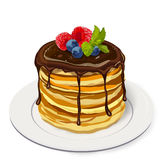 Stack delicious pancakes with chocolate sauce, raspberry, bluebe Royalty Free Stock Photo