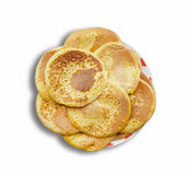Stack of delicious pancakes on plate isolated Royalty Free Stock Images