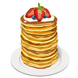 Stack delicious pancakes: strawberry blueberry berries whipped c Stock Image