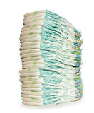 Stack of Diapers. Isolated on White background Stock Photography