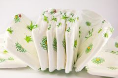 Stack of diapers isolated Royalty Free Stock Photos
