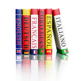 Stack of dictionaries. Foreign language study concept background - stack of dictionaries  on white background Stock Photography