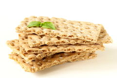 Stack of dietary whole wheat crisp bread Royalty Free Stock Image