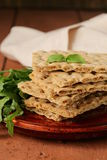 Stack of dietary whole wheat crisp bread Stock Image