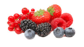 Stack of different berries (isolated) Royalty Free Stock Photography