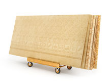 Stack of different boards. OSB, plywood and gypsum board. 3d ill. Ustration royalty free stock photography