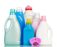 Stack from different cleaning items Royalty Free Stock Photo
