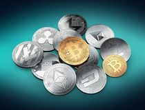 Stack of different cryptocurrencies with a golden bitcoin on the top vector illustration
