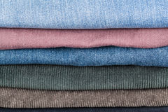 Stack of different denims close up Stock Photos