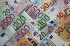 Stack of different Euro Banknotes royalty free stock images