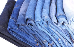 Stack of different kind of blue jeans Royalty Free Stock Image
