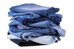Stack of different kind of blue jeans Stock Photo