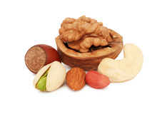 Stack from different kinds of nuts (isolated) Stock Photo