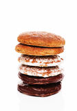 Stack of different lebkuchen gingerbread cookies Stock Photography