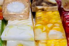 Stack of different natural handmade soaps Royalty Free Stock Images