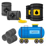Oil drums container fuel cask storage rows steel barrels capacity tanks natural metal old bowels chemical vessel vector Stock Photos