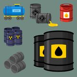 Oil drums container fuel cask storage rows steel barrels capacity tanks natural metal old bowels chemical vessel vector Stock Image