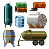 Oil drums container fuel cask storage rows steel barrels capacity tanks natural metal old bowels chemical vessel vector Royalty Free Stock Photos