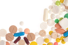 Stack of different pills isolated Stock Photo