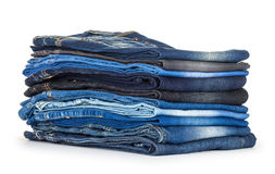 Stack of different shades of blue jeans Stock Image
